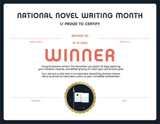 NaNoWriMos Young Writers Program Beta – Certificate Winner