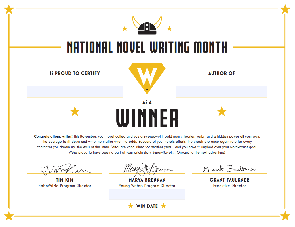Amazing NaNoWriMou0027s Young Writers Program Screen Shot 2017 11 15 At 4 Swag 2017. Winner  Certificates Winner Certificates  Certificate Winner